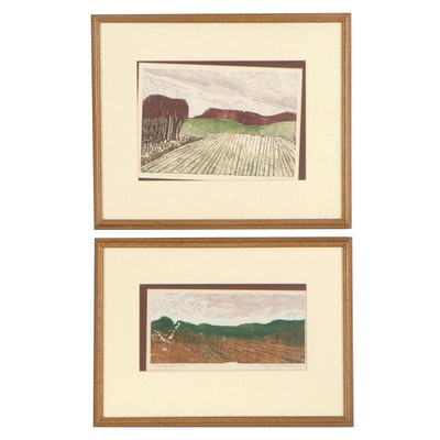 """Amy C. Mehalick Woodcuts """"Spring Dawn"""" and """"New York Farm,"""" 1983"""