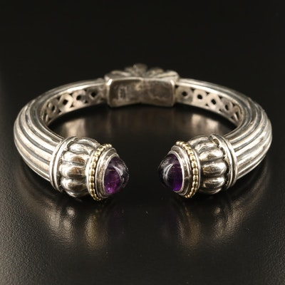 Lagos Caviar Sterling Amethyst Hinged Bracelet with 18K Accents