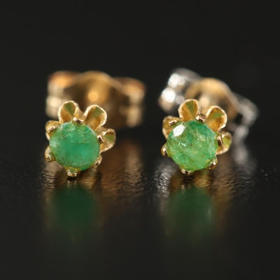 14K Buttercup Set Emerald Stud Earrings