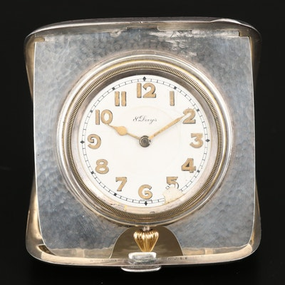 Wm B. Kerr and Co. Sterling Silver 8 Days Travel Clock by Concord Watch Co.