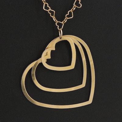 10K Triple Heart Pendant on Heart Chain Necklace