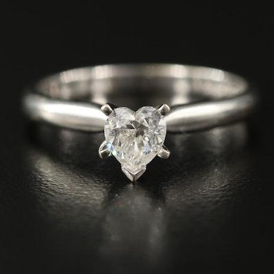 14K 0.51 CT Heart Diamond Solitaire Ring
