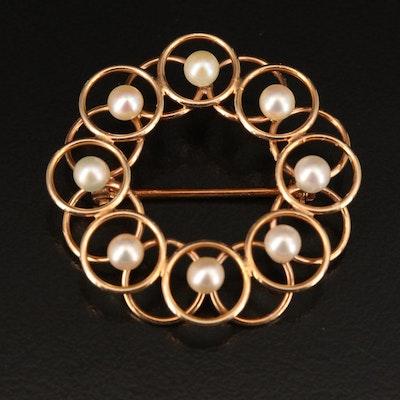 Vintage Krementz 14K Pearl Wreath Ring