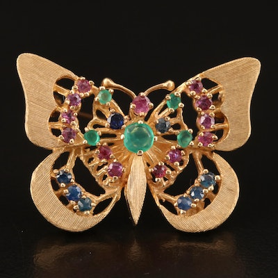 14K Chalcedony, Ruby and Sapphire Butterfly Brooch