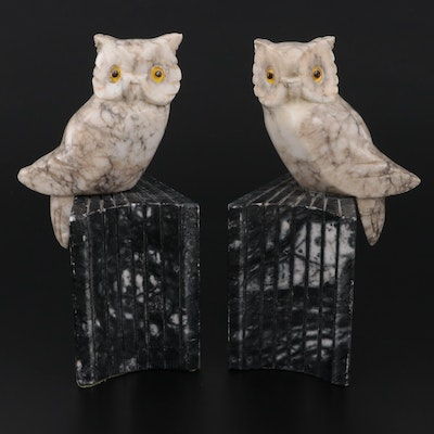 Italian Carved Alabaster and Marble Owl Bookends, Mid-20th Century
