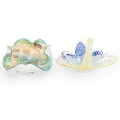 Handblown Murano Art Glass Swan Form Bowl with Other Murano Bowl