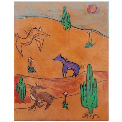 "Stefan Georg Acrylic Painting ""Wild Horses,"" 2021"