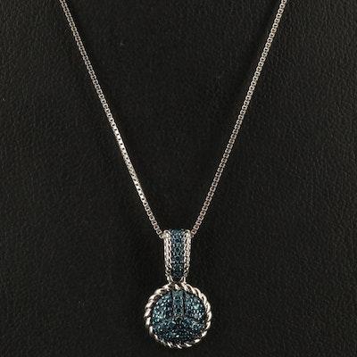 Sterling Diamond Pavé Disc Pendant Necklace