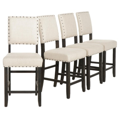 Four Contemporary Counter Height Upholstered Stools