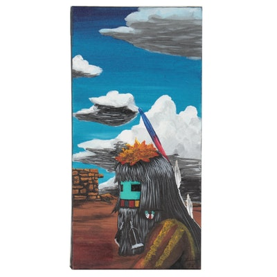 """Native American Inspired Acrylic Painting """"Bringing the Clouds"""""""