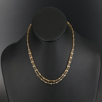 18K 1.45 CTW Diamond and Sapphire Double Strand Necklace