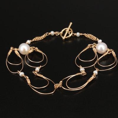 14K Pearl Wirework Bracelet