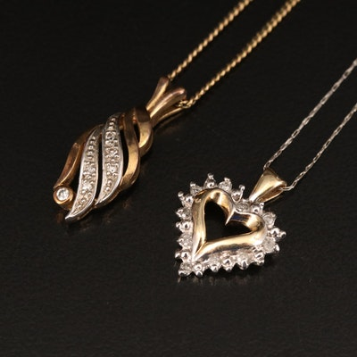 10K Heart and 8K Drop Pendant on Gold-Filled Necklaces