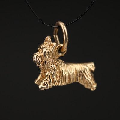 14K Terrier Dog Charm