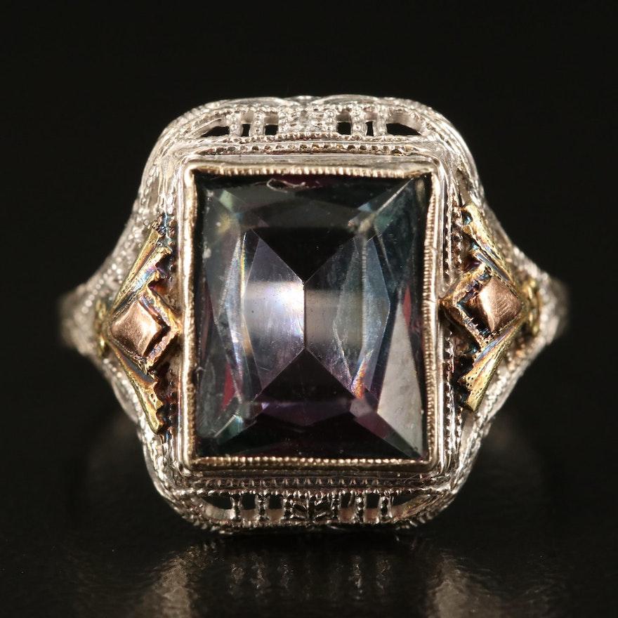 10K Glass Square Ring