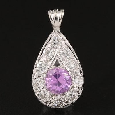 Pink Sapphire and Diamond 14K Pendant
