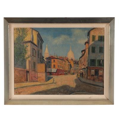 Anton Storch European Street Scene Oil Painting, 1950