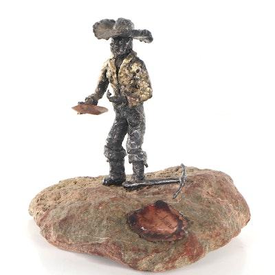 Richard W. Allen Mixed Media Sculpture of Cowboy, 1989