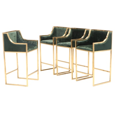 Four Brass and Emerald Green-Upholstered Counter-Height Bar Stools