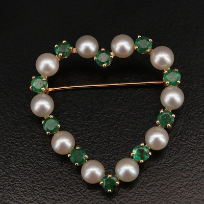 14K Emerald and Pearl Heart Brooch