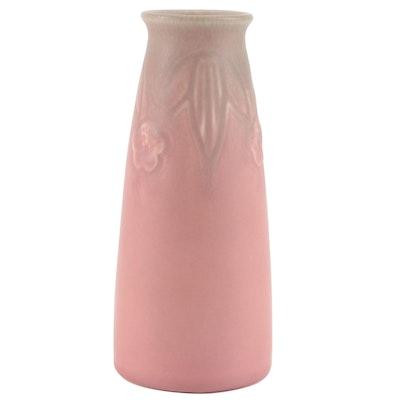 Rookwood Pottery Green to Pink Matte Floral Vase, 1927