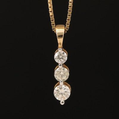 14K Diamond Three Stone Pendant Necklace