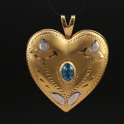 14K London Blue Topaz Heart Locket Pendant