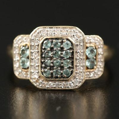 14K Chrysoberyl and Diamond Ring