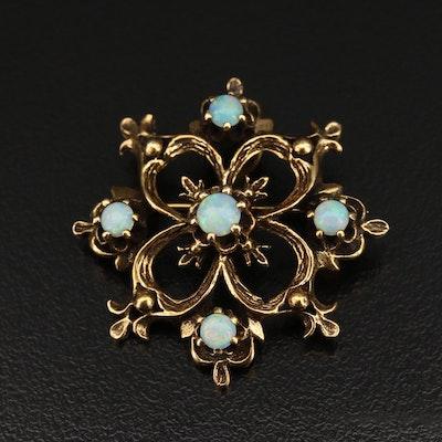 Vintage Style 14K Opal Converter Brooch
