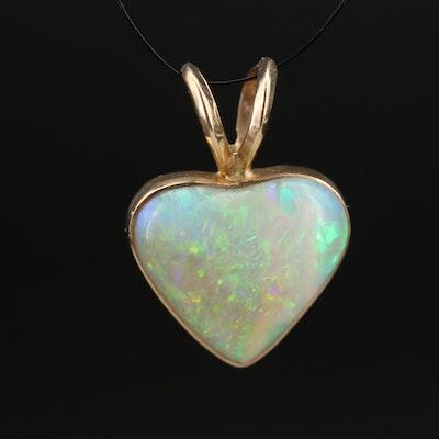 14K Heart Opal Cabochon Pendant