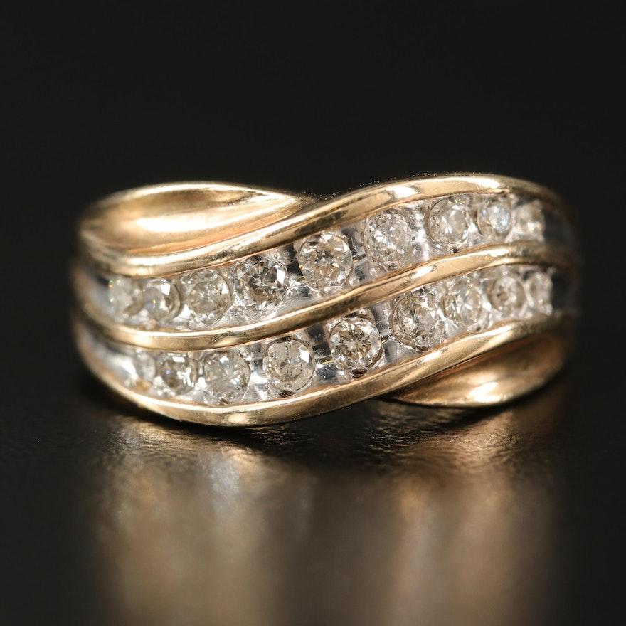 10K Diamond Wave Ring