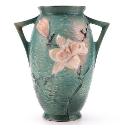 "Roseville Pottery ""Magnolia"" Handled Vase, Mid-20th Century"