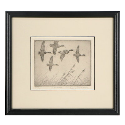 """Don Swann Etching """"Over the Marsh"""""""