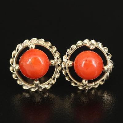 14K Coral Stud Earrings