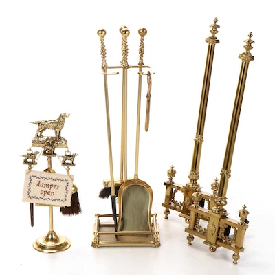 Brass Fireplace Tool Sets with Brass Andirons