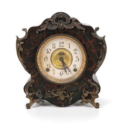 E. Ingraham Marble Wood Mantel Clock, Early 20th Century