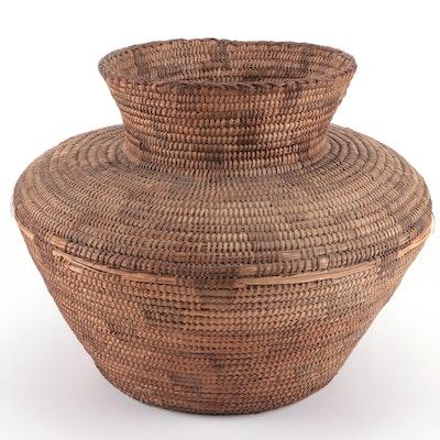 American Southwest Style Hand-Woven Bottleneck Basket