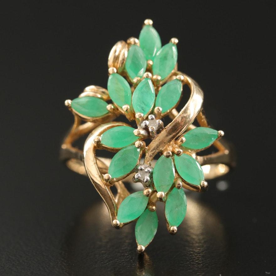 10K Emerald and Diamond Foliate Ring