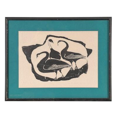 """Juanisialu Irqumia Inuit Stonecut """"Swans,"""" 1964"""