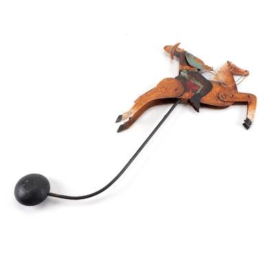 American Folk Art Cowboy Pendulum Balance Toy