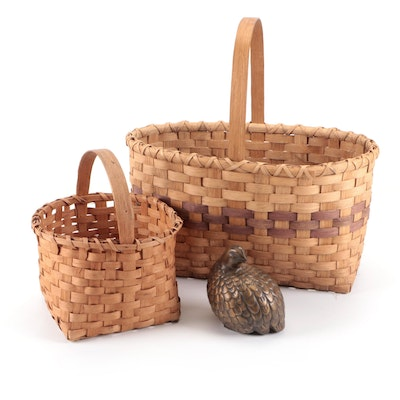 Arnels Pottery Ceramic Quail and Hand Woven Baskets