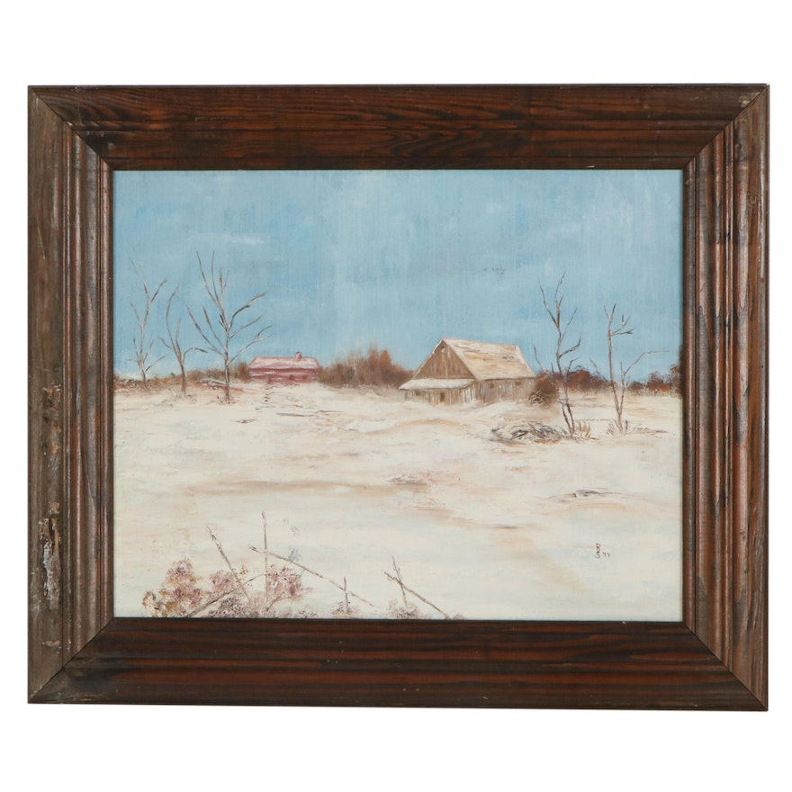 Winter Landscape Oil Painting of Cabin, 1977