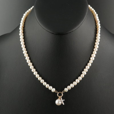 14K Pearl and Diamond Cross and Drop Necklace