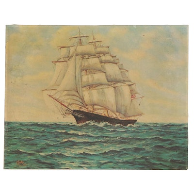 Embellished Offset Lithograph After Julian Links of Ship at Sea