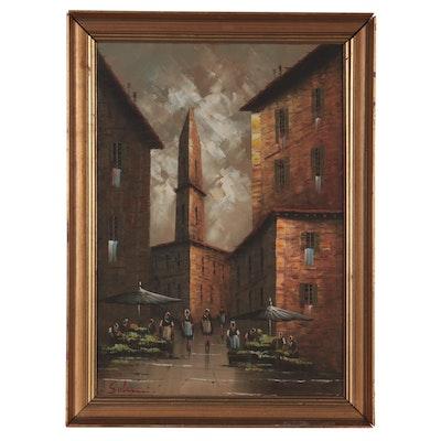European Street Scene Oil Painting, Late 20th Century
