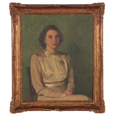 Victor White Portrait Oil Painting of a Seated Woman, 1947