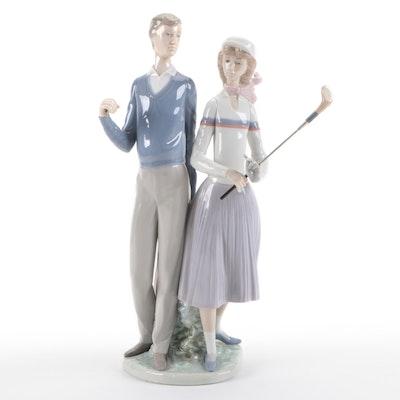 """Lladró """"Golfing Couple"""" Porcelain Figurine Designed by José Puche"""