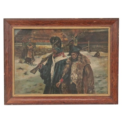 """Oil Painting After Wojciech Kossak """"Two Grenadiers,"""" Mid-Late 20th Century"""