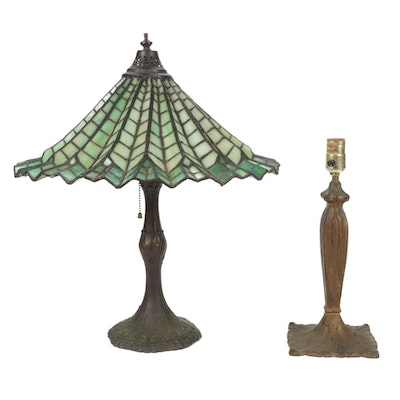 Ruffled Green Slag Glass and Bronze Table Lamp with Other Cast Metal Lamp Base