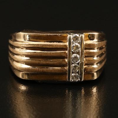 14K Diamond Fluted Ring